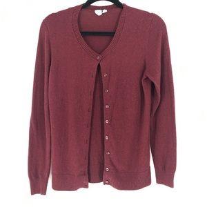 "Gap Deep Red ""Merlot"" Button Up Sweater Cardigan"